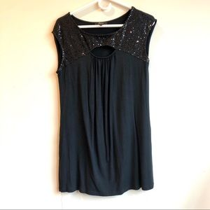 Express black sleeveless sequins top medium